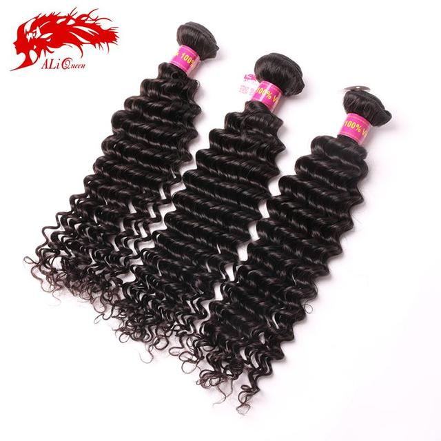 Ali Queen Hair Products Malaysian deep wave curly virgin hair 3pcs Lot Unprocessed Malaysian deep wave curly virgin hair