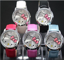Children's Watch Cartoon Hello Kitty PU Leather Wristwatch Leisure Cute Kids Quartz Wrist Watch for Girl Student Red Mix Color