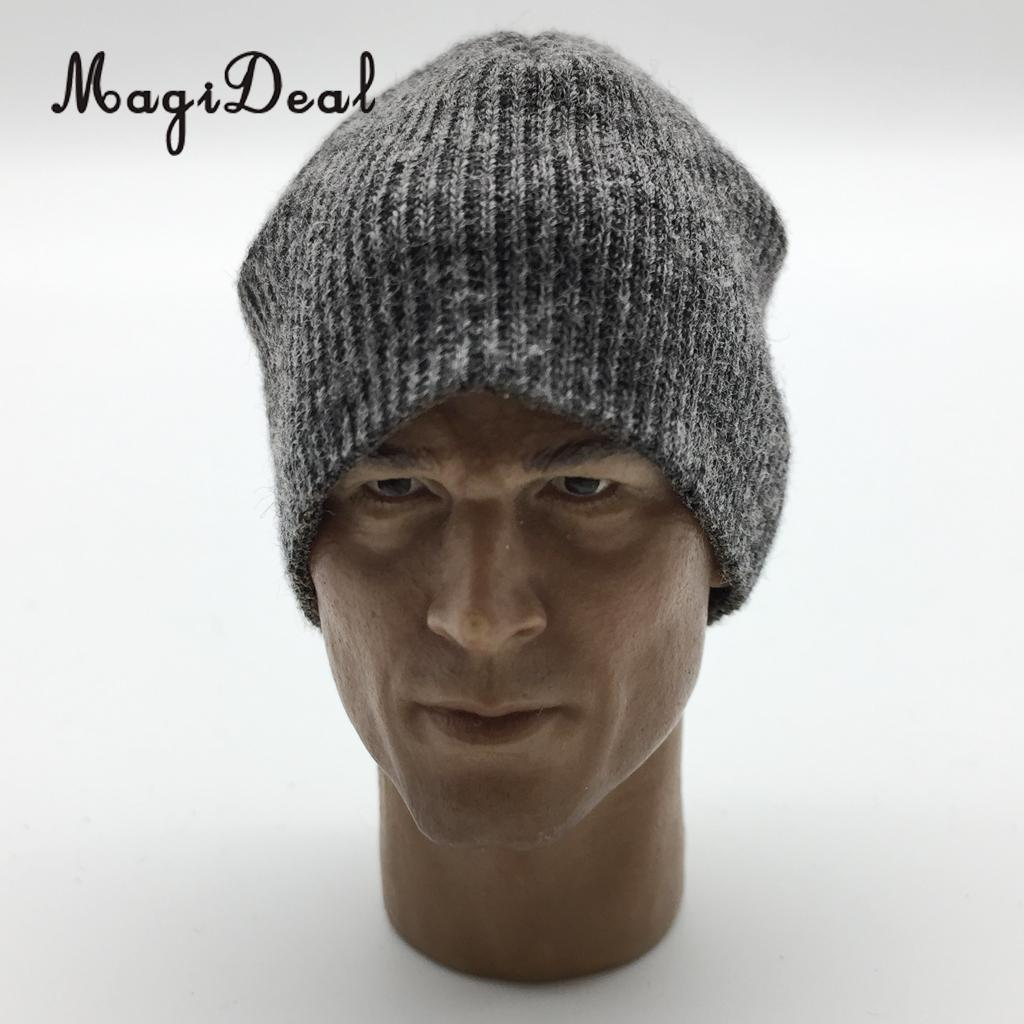 MagiDeal 1/6 Scale Knit Mens Black Knitted Cap Hat for 12 Inch Action Figure Body Model Dolls Stage Display Daily Wear Party Acc