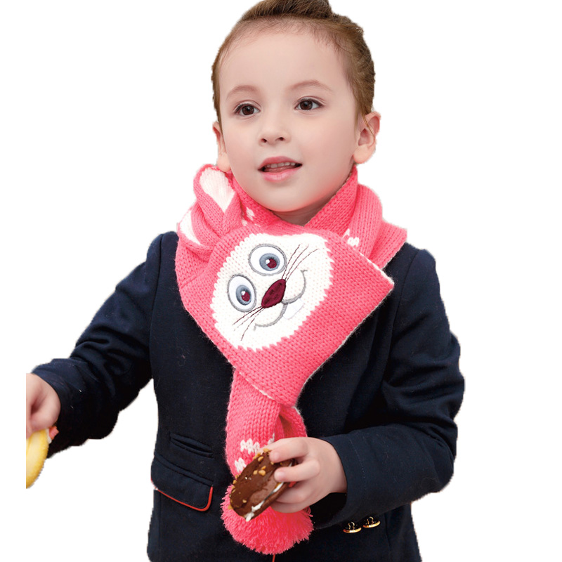 Retail Children Girls Cat Design Pink Knitted Scarf Baby Kids Winter Warm Double Layer Bobbles Scarves Free Shipping WJ8329(China (Mainland))