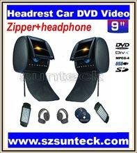 free shipping 2X9 inch car headrest dvd  with digital panel and with zipper +IR wirelss headphone 32bit game+IR+USB+SD+FM(China (Mainland))