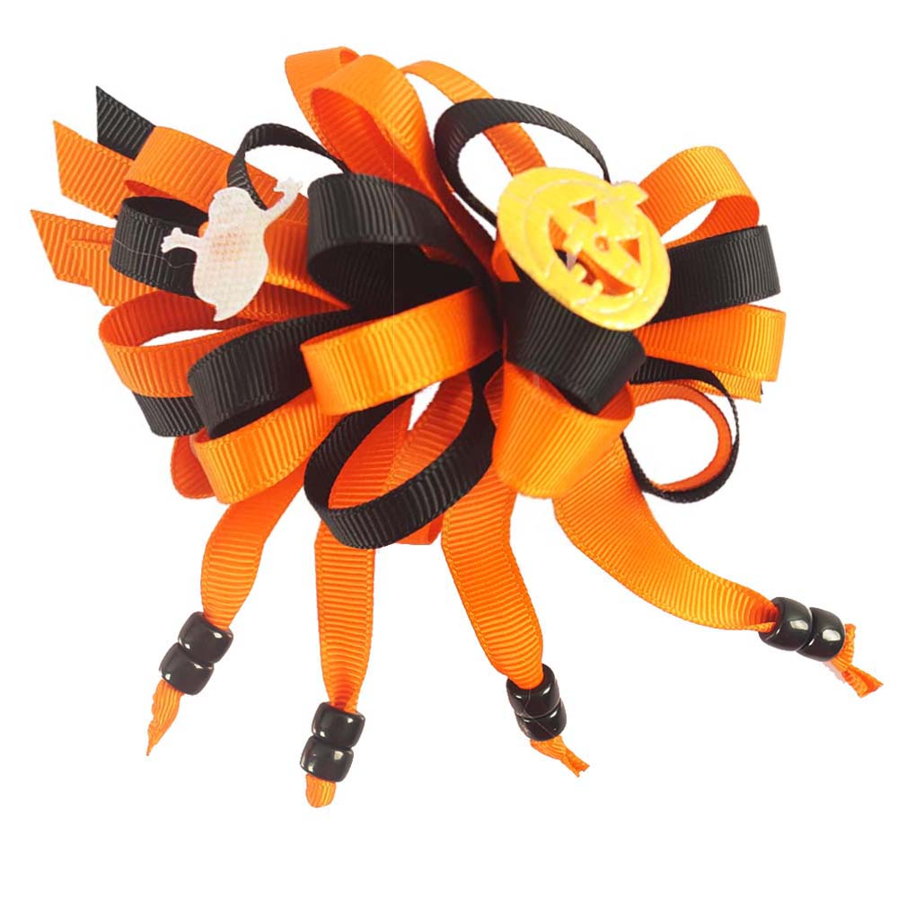Halloween BOO Pumpkin Ghost Bling Boutique Alligator Hair Bow Clips For Children Kids Girls Hair Accessory(China (Mainland))