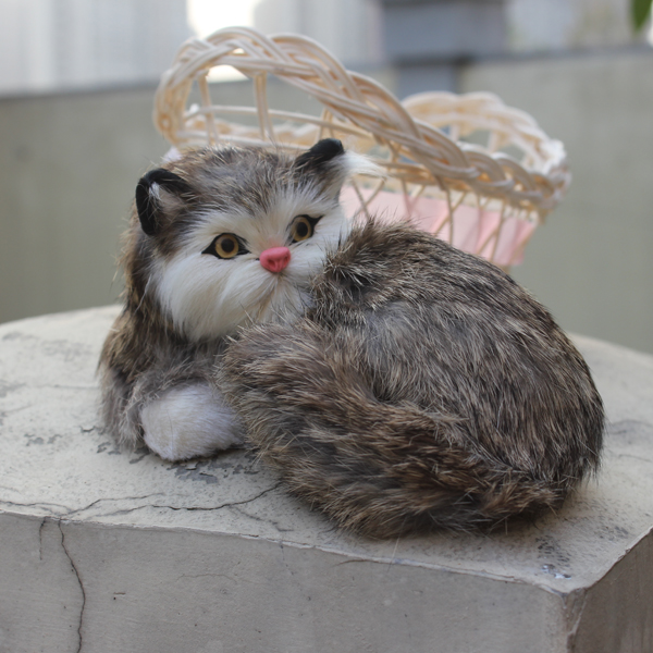 Miniature Novelty Gifts Real Simulation Lifelike Cat Cheap Price Fur Covered Plastic Real Looking Cat Animal Toy(China (Mainland))