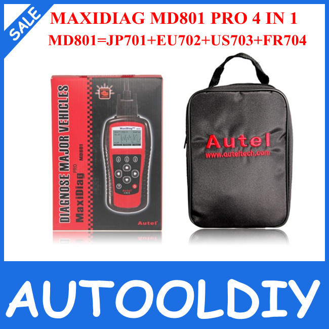 2014 Top Selling High Quality Autel MaxiDiag PRO MD801 4 in 1 Auto Code Reader (JP701+EU702+US703+FR704) MD801 Free Shipping(China (Mainland))