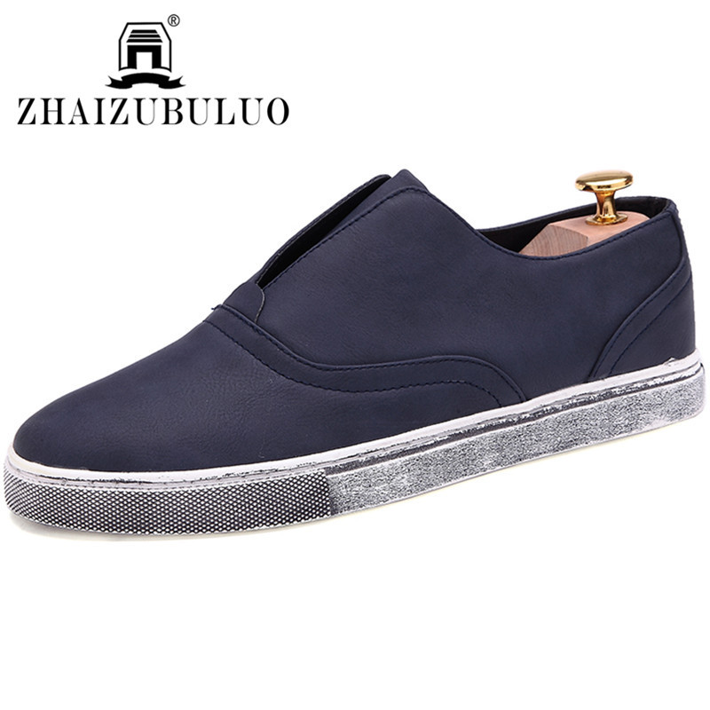 2015 New Arrival Men Shoes Leather Breathable Casual Slip On Flats Shoes Spring Autumn Man Shoes Chaussure Homme Blue Size 39-44