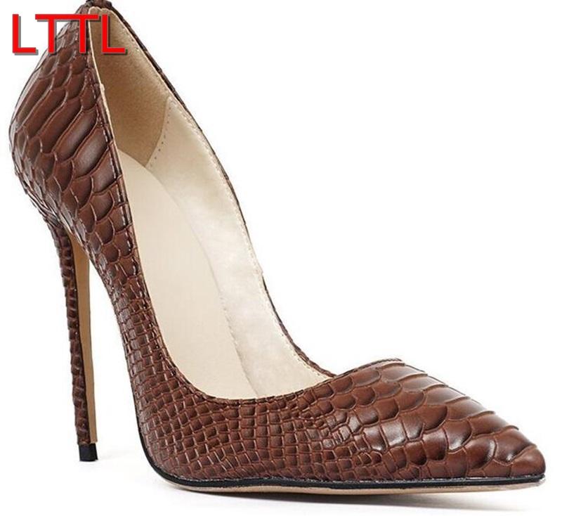 2016 LTTL Women Pointy Toe Pumps Patent Leather High Heels Brown Pumps Snake Skin Print High Heels Dress Shoes Thin Heels 12cm(China (Mainland))