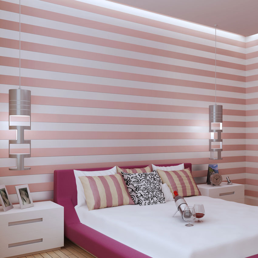 Pink striped non-woven wallpaper modern minimalist fresh green bedroom living room wallpaper shop for wholesale decoration(China (Mainland))