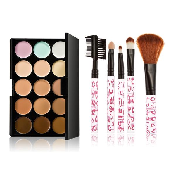 Гаджет  15 Colors Contour Face Cream Makeup Concealer Palette 5PC Pink Brush FATE None Красота и здоровье