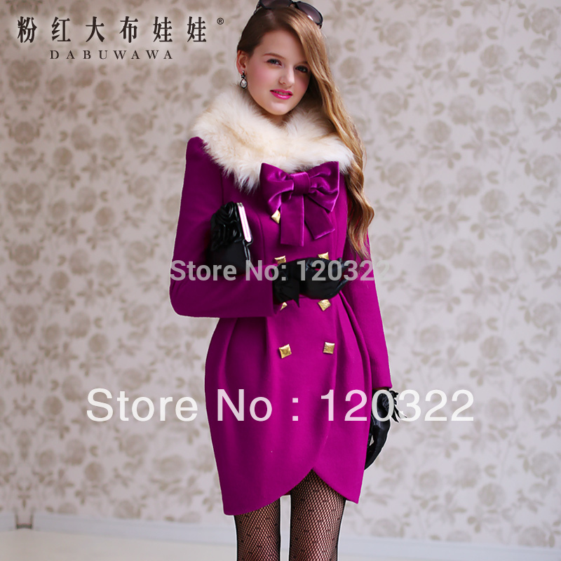Original New Casaco 2014 Brand Winter Thick Purple Wool Fur Collar Formal Vintage Skirt Slim Casaco Coat Jacket Women