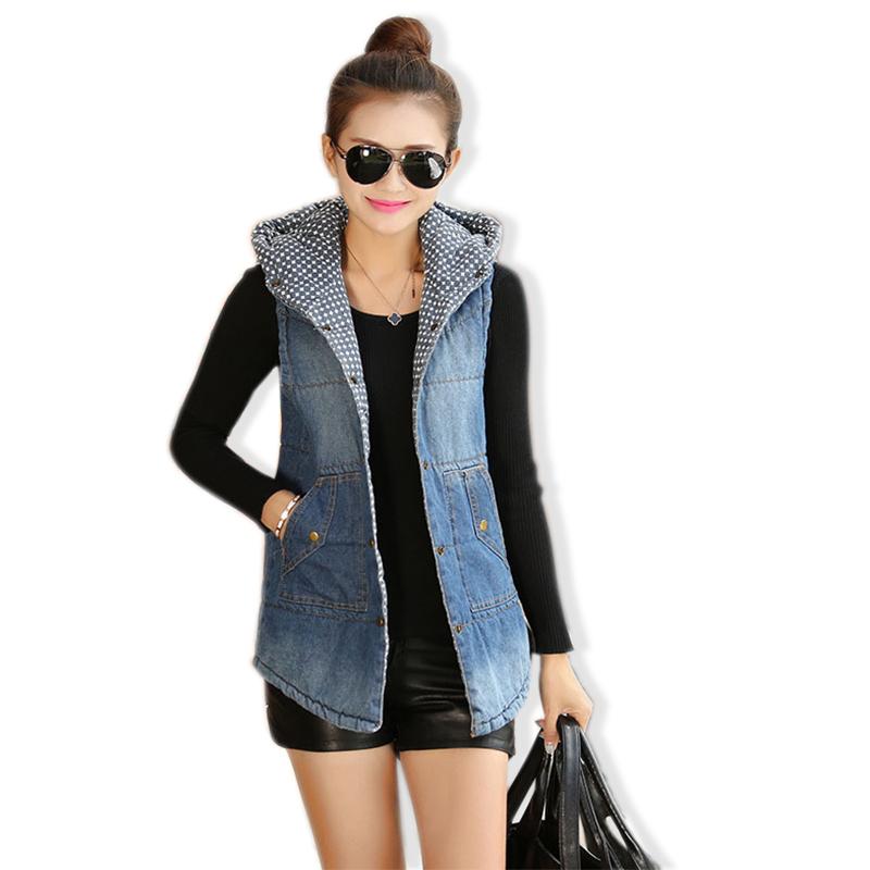 2015 New Autumn Women's Hooded Denim Vest Wadded Sleeveless Jacket Jeans Waistcoat Colete Feminino(China (Mainland))