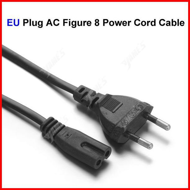 ( 400 pcs/lot ) EU Plug AC Figure 8 Power Cord Cable 1.5m 5FT For Battery Charger AC Power Adapter Laptop Wholesale(China (Mainland))