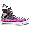 Personalized shoes Hand Painted Art Wen Fuchsia Galaxy Tardis Doctor Who High Top Painted Canvas Shoes