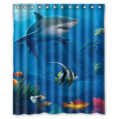 New Arrival Vintage Design Bathroom Product Print Marine Life Under the Sea Polyester Shower Curtain For Kids 152x182cm(China (Mainland))