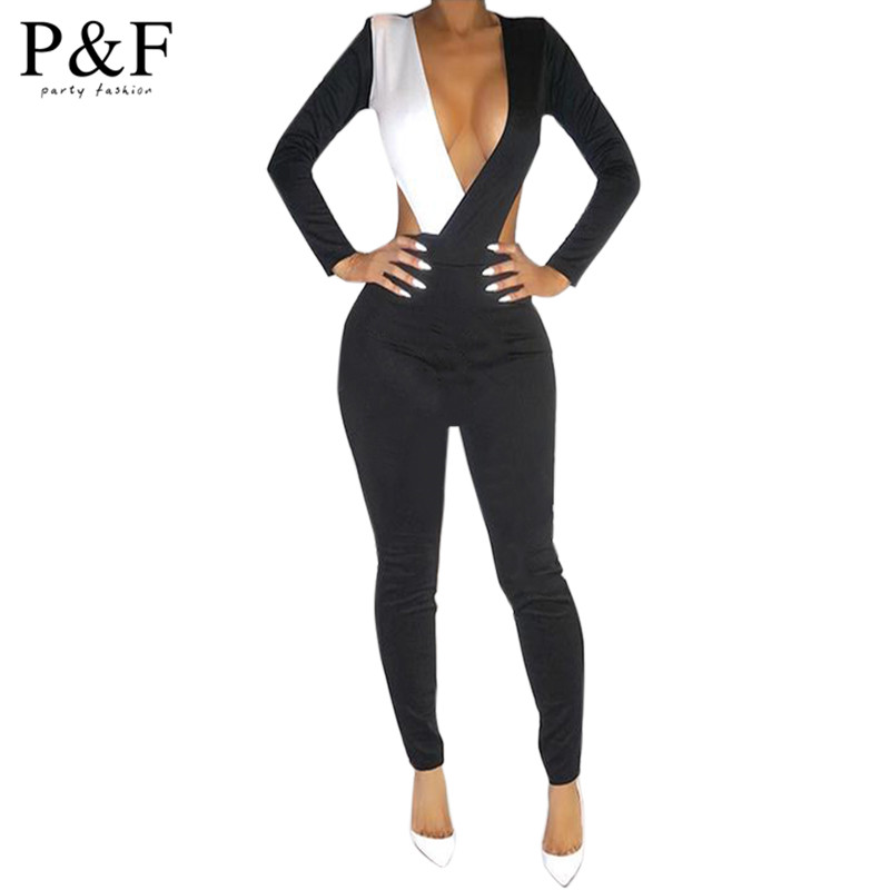 Original New 2015 Winter Spring Sexy Bodycon Jumpsuit Women Solid Bandage