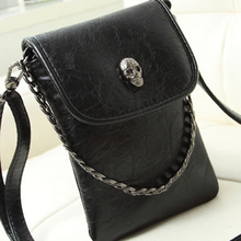 2015 NEW Fashion Skull pattern Headbags Women Messenger bag Ladies Casual PU Leather Mini Mobile Phone bag Tote(China (Mainland))