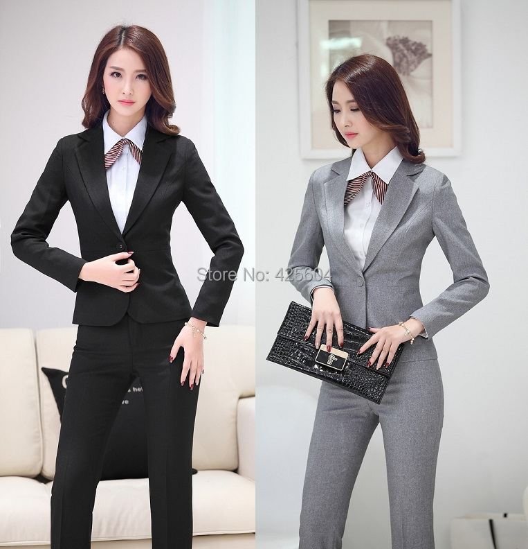Formal uniform design pantsuits for office ladies 2015 for Office uniform design 2015