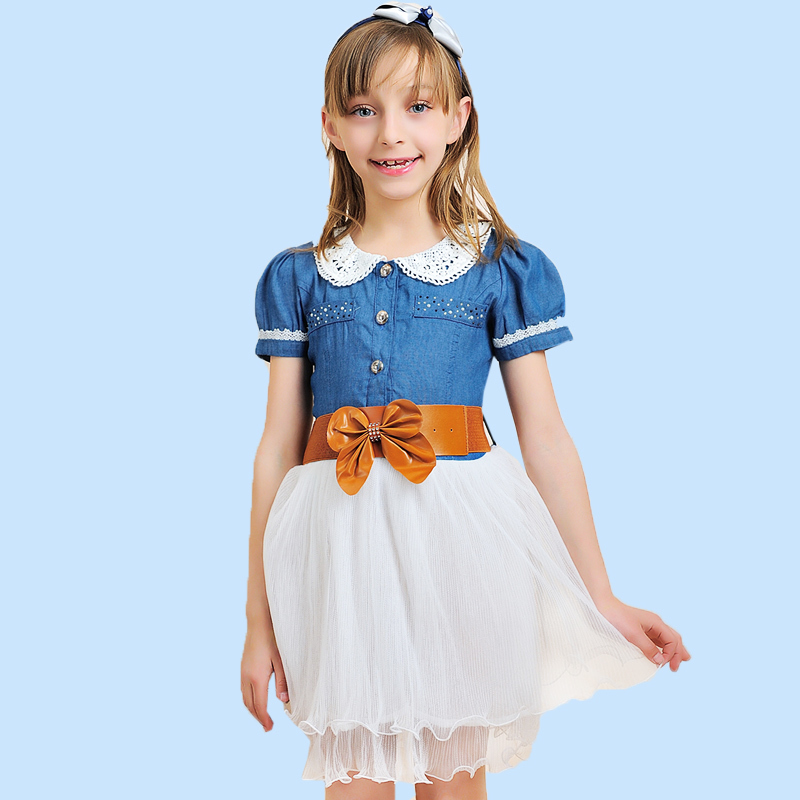 2015 new summer children's clothing denim jeans Girl dress patchwork baby girls casual vestidos kids clothes - CiCi Girls Kids Clothes store
