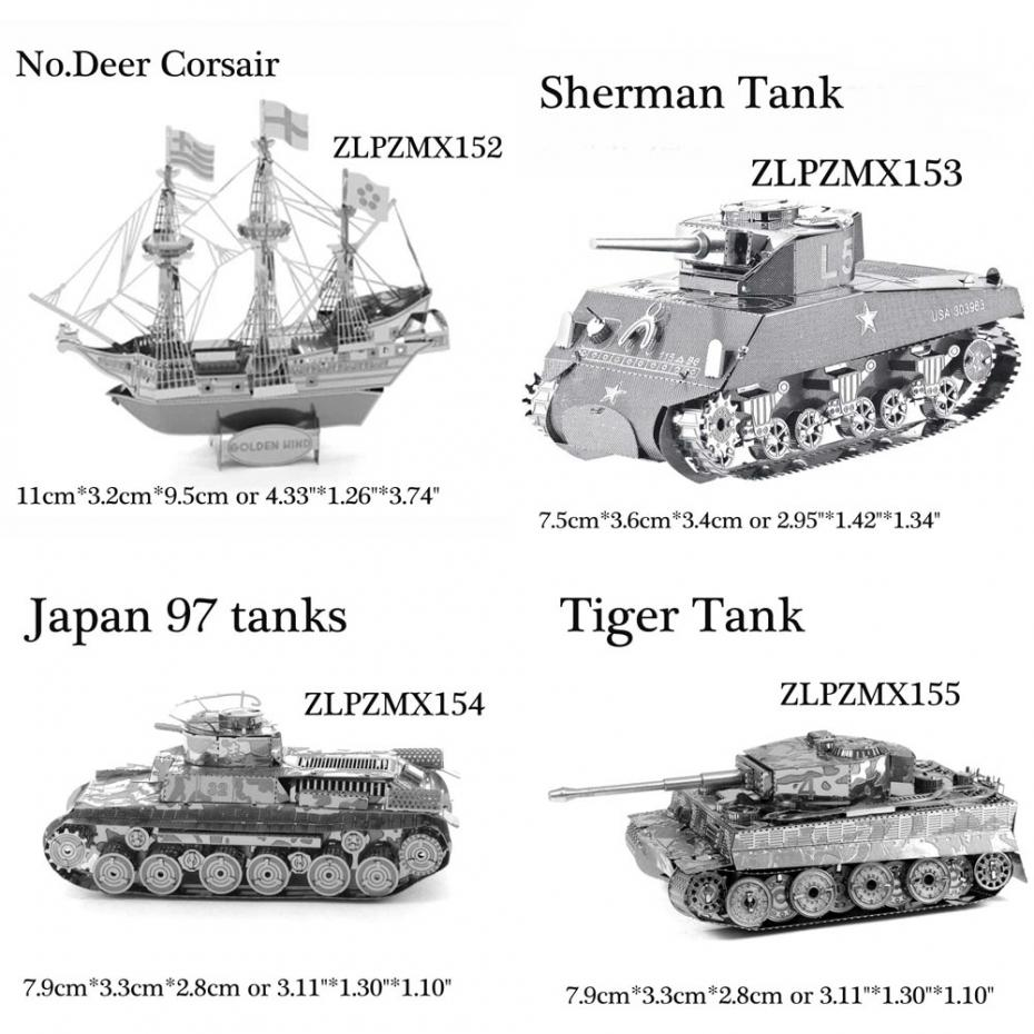 3D Metal Puzzle DIY Army Equipment Jigsaw Model Educational Fascination Toys NEW(China (Mainland))