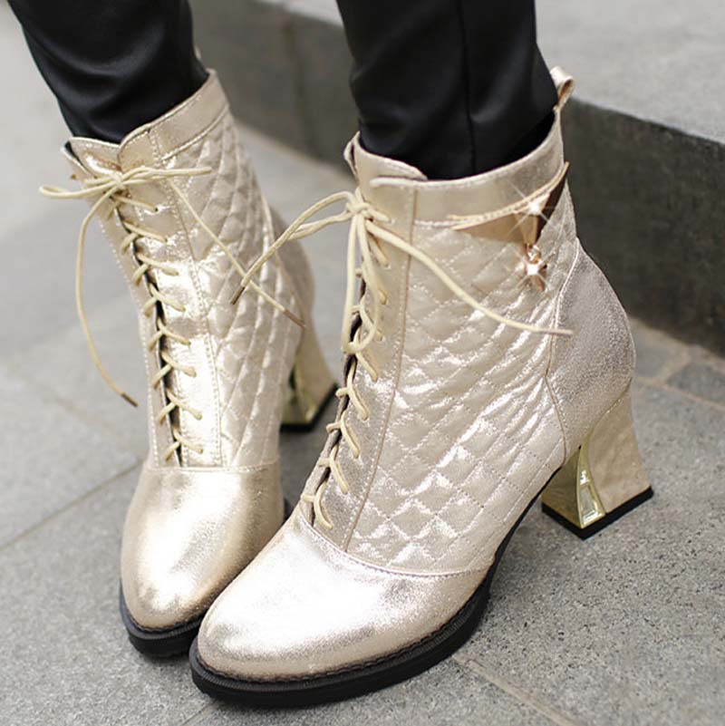 Fashion Retro Style Shoes Women Lace Up Shoes Ankle High Boots Solid Round Toe Platform Shoes Thick Heels Martin boots<br><br>Aliexpress