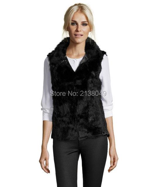 Fv021 горячая распродажа рукавов воротник стойка женщин реального кролика меховой жилет