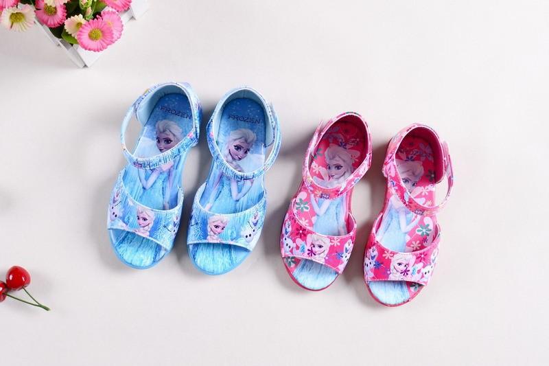2015 Summer New Ice Snow Queen Girls PU Sandals Elsa Sandals Children font b Shoes b