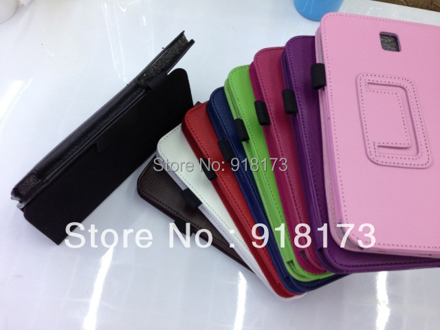 100pcs/lot P3200 Leather Stand android Case tablet Cover for Samsung Galaxy Tab 3 7 inch with Stylus Holder(China (Mainland))