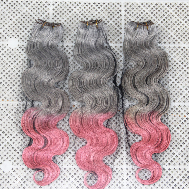 7A Peruvian Grey/ Pink Ombre Hair Weave Body Wave 3pcs/lot Free Shipping Factory Outlet 100% Best Quality Human Hair Bundles(China (Mainland))