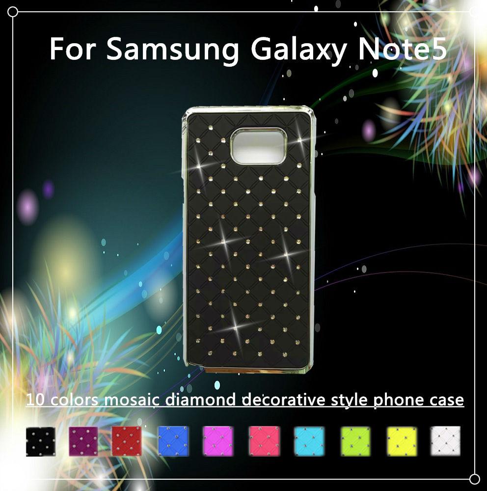 10 colors For Samsung Galaxy Note5 phone cases mosaic diamond decorative style shock proof,anti impact,anti slip phone shell(China (Mainland))