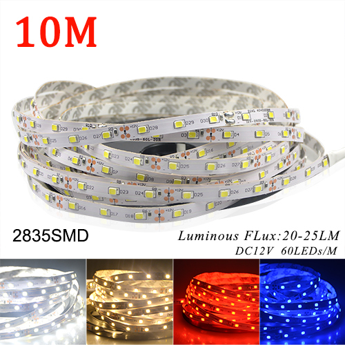 10M/lots More Bright than 3528 60LEDs/M LED Strip light 2835 SMD DC 12V 600LEDs/10M Lower price than 5050 Warm white Blue Red(China (Mainland))