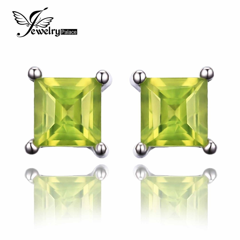 2015 New Fashion 0.72ct Green Natural Peridot Women Classic Princess Cut Earrings Stud Solid 925 Sterling Silver Women Jewelry(China (Mainland))