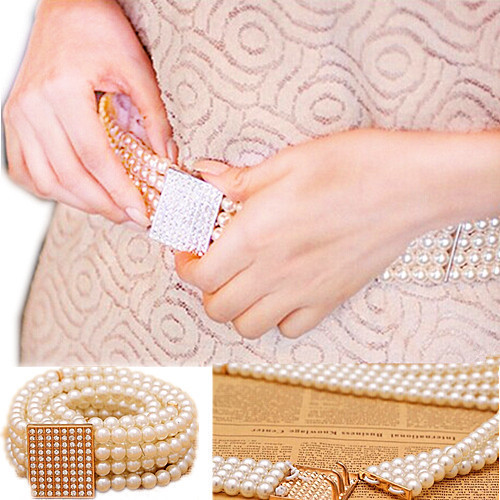 New Fashion Accessories Elegant Gold Buckle Inlaying Rhinestone Pearl Elastic Belt Womens Strap Waistband XLL138(China (Mainland))