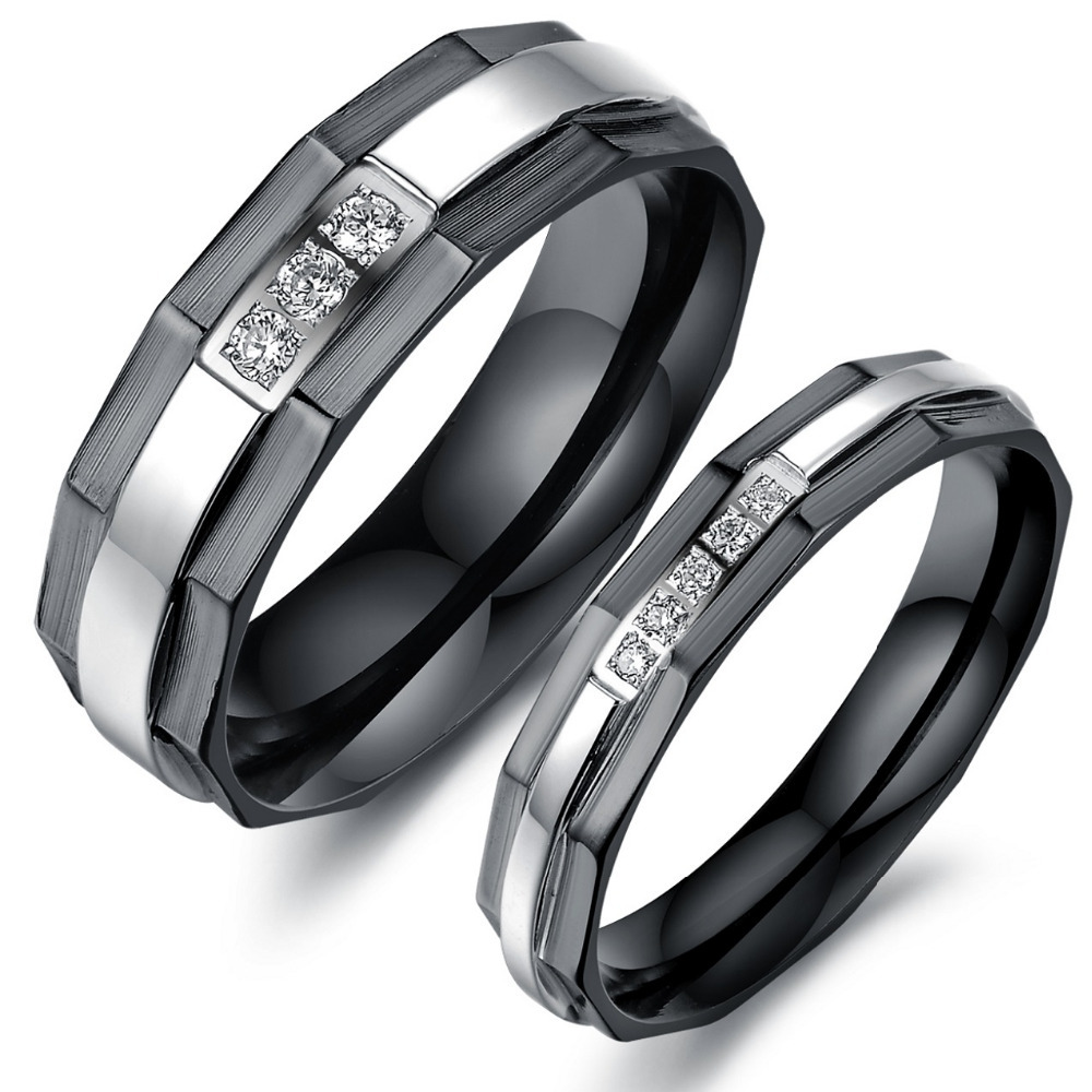 Ring Charm Real Stainless Steel Black Crystal Engagement Wedding Rings