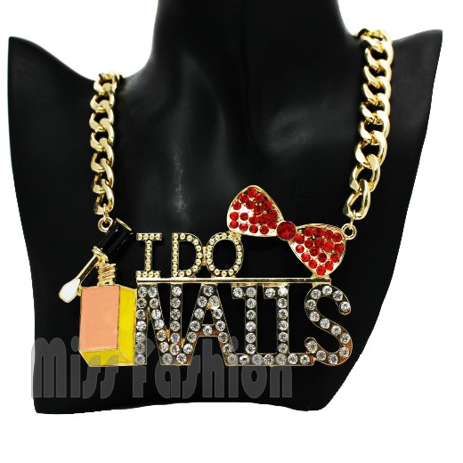 Fashion Necklace For Women 2014 , Free Shipping Short Urban Glam Metal Chain Crystal Rhinestone I do nails Statement Necklace(China (Mainland))