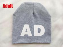 Fashion kids hats 2015 Letter AD print boys girls hat cotton warm knitting skullies beanies winter hats for toddler baby(China (Mainland))