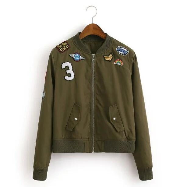 Women Military Style Bomber Jacket Ladies Army Green Flight Aviator Jackets 2016 Patched Badges European Fashion Free Shipping(China (Mainland))