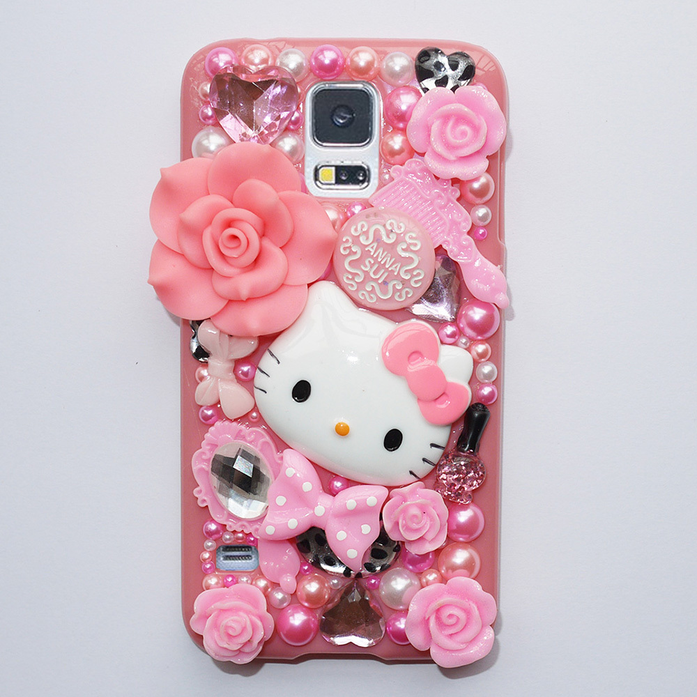 New Cute Fashion Hello Kitty Pearl Crystal Plastic Case For Samsung Galaxy S5 Case Hard Cover Phone Cases Accessories Protector(China (Mainland))