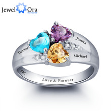 Personalized Engrave DIY Birthstone Jewelry Heart Stone Name Ring 925 Sterling Silver family Ring Mom's Gift (JewelOra RI101793)(China (Mainland))