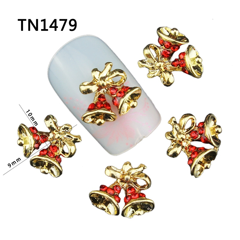 Blueness 10Pcs Christmas Bells Design Manicure Tips Glitter Gold Alloy Red Rhinestones For Charms 3D Nail Art Decorations TN1479(China (Mainland))