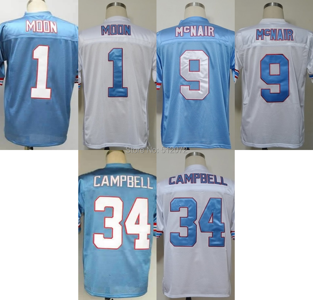 Houston Men's Authentic Throwback #1 Warren Moonn #9 Steve McNair #34 Earl Campbell Football Jersey(China (Mainland))