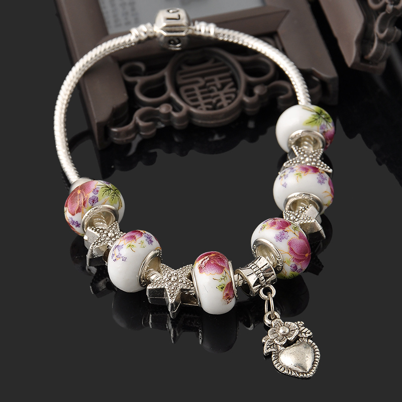 2015 New Fashion 925 Sterling Silver Bracelets Jewelry Beads Love Heart Bracelet For Men Women 13 Style With Red Gift Boxes SY28(China (Mainland))