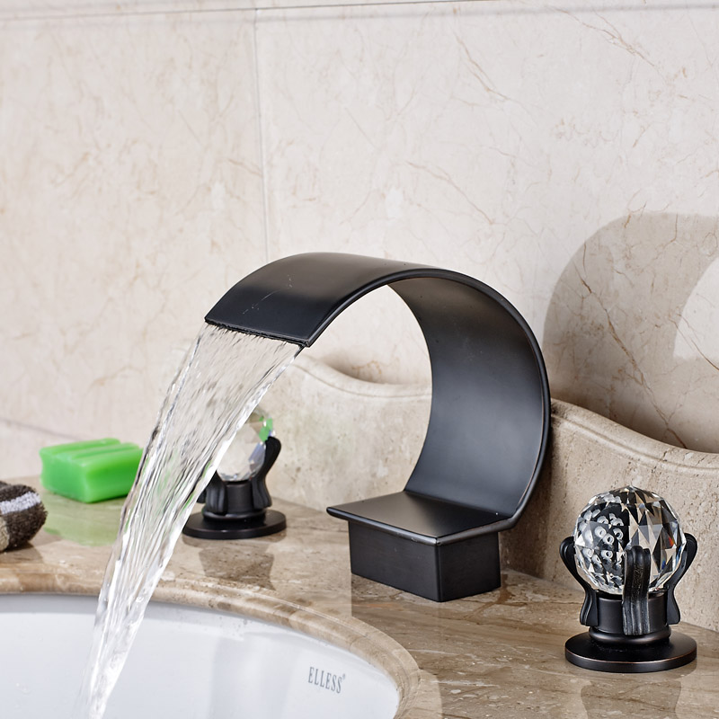 Фотография Luxury Widespread Waterfall Bath Spout Basin Sink Faucet Two Handles Bathroom Mixer Tap Deck Mounted