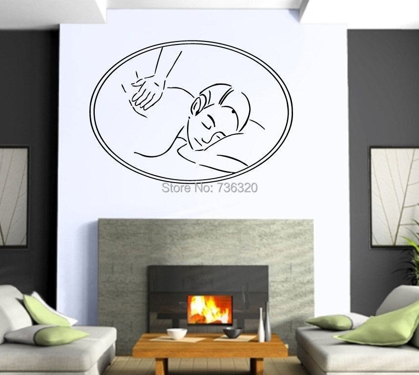 Girl body massage vinyl wall decal massage relaxation spa for Deco mural zen