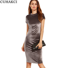 Buy Women Solid Color Velvet Brief Dresses Summer Office Ladies Round Neck Short Sleeve Knee Length Elegant Slim Pencil Dress S304 for $8.20 in AliExpress store