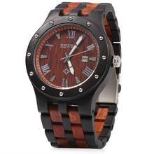 Bewell marque de luxe étanche bois montre hommes Quartz montres en bois bande calendrier analogique mâle élégant montres relogio(China)