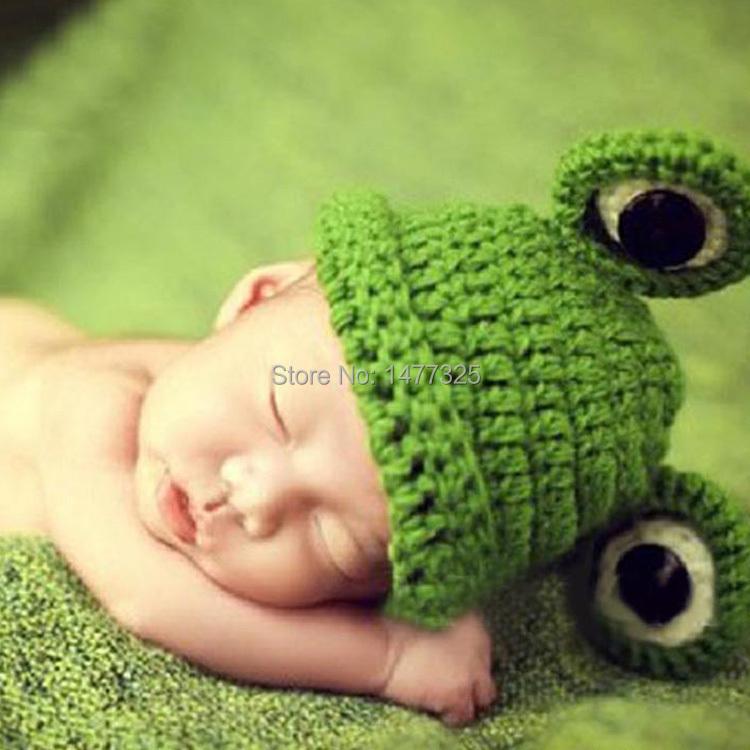 Lovely Cute Baby Infant Newborn Handmade Crochet Knit Cap Frog Hat Costume Photograph Prop(China (Mainland))