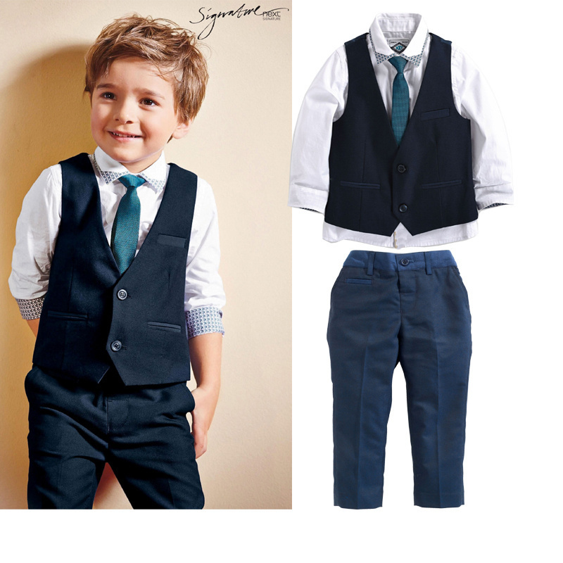 DHL EMS Free shipping baby boys Toddlers NEW Gentlemen 3pc Suit White shirt Waistcoat  Pants 6 Kids Clothing Children Set<br><br>Aliexpress