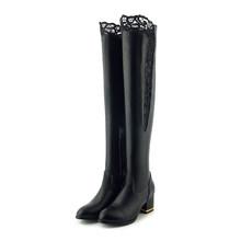 WETKISS Artı Boyutu 33-46 Pu Kadın Diz Üzerinde Çizmeler Yuvarlak Ayak Ayakkabı Dantel Yüksek Topuklu Kadın Çizme zip Ayakkabı Kadın 2020 Kış(China)