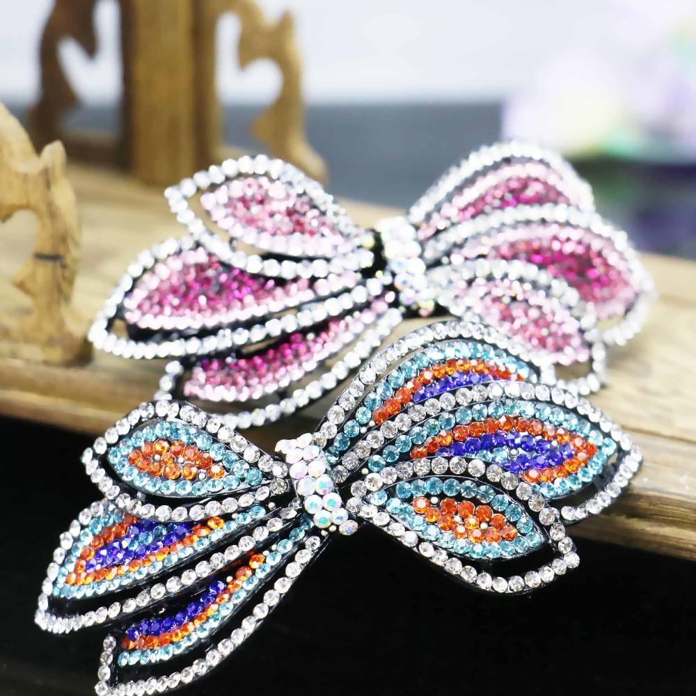 42*92mm Wedding Headdress Butterfly Bowknot Bows Inlaid Rhinestone Headband Head Bands Headpiece Crystal Accessory(China (Mainland))