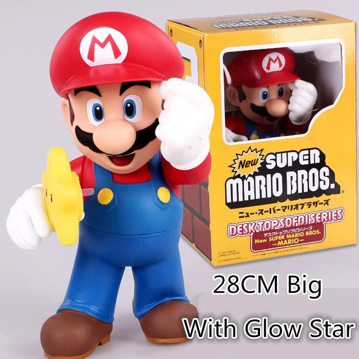 28cm Super Mario Bros Luigi With Glow star Action Figure PVC Model Doll PVC Anime Brinquedos Collection Model Toy For Kids #D
