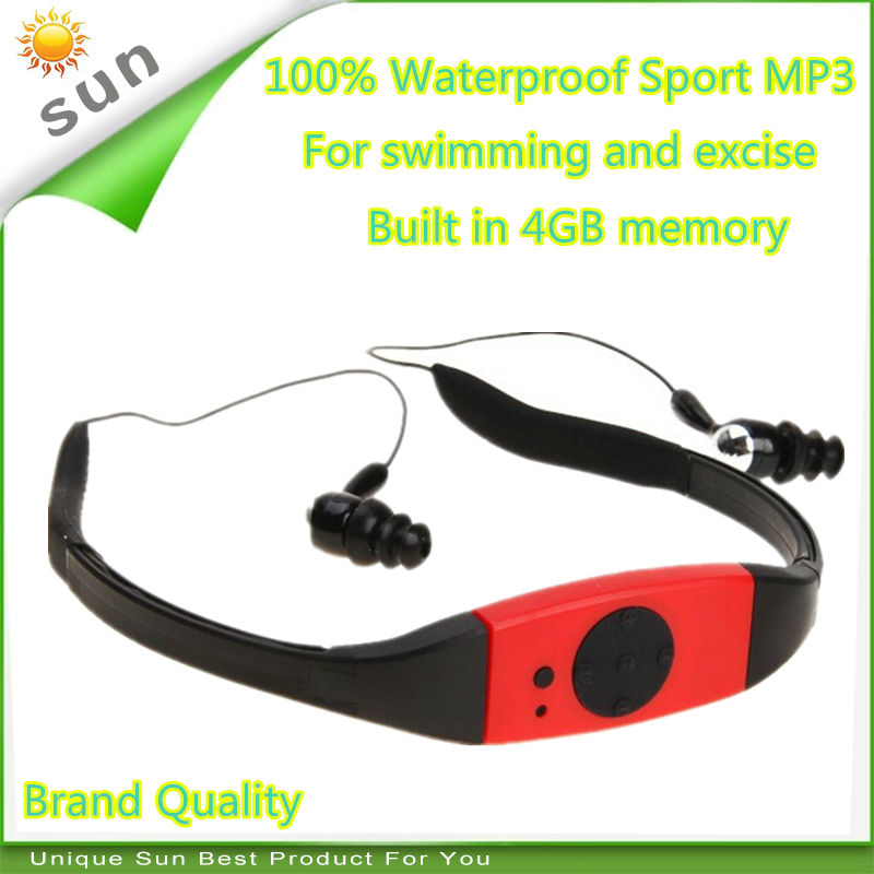 headphones mp3 player sport swimming mp3 waterproof with 4GB memory flash mp3 FM music player for sport exercise DHL delivery(China (Mainland))